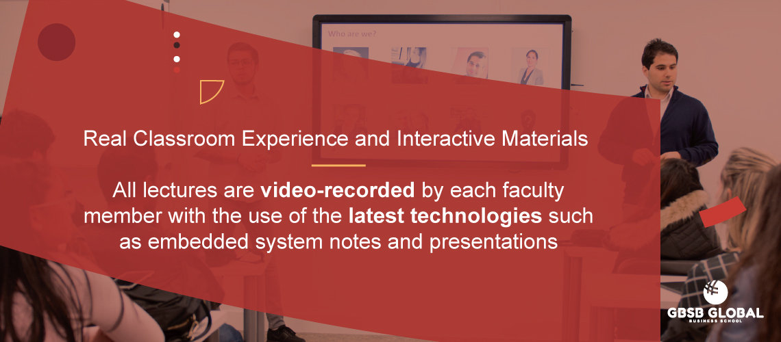 Online Bachelor in Marketing in a Real classroom experience with interactive materials
