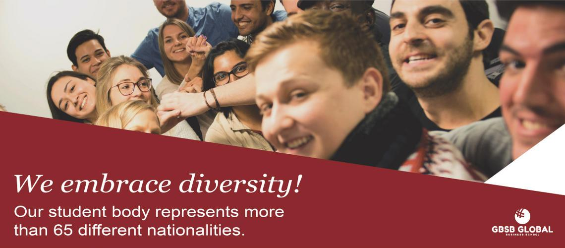 Global Business School Barcelona student diversity with more than 65 nationalities