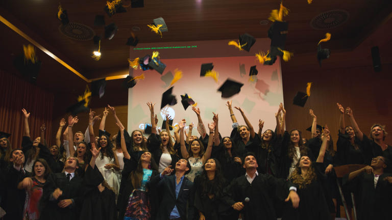 gbsb global business school barcelona huts flying in graduation 2017